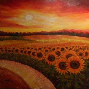 soleil couchant sur les tournesols Maurice Vétier
